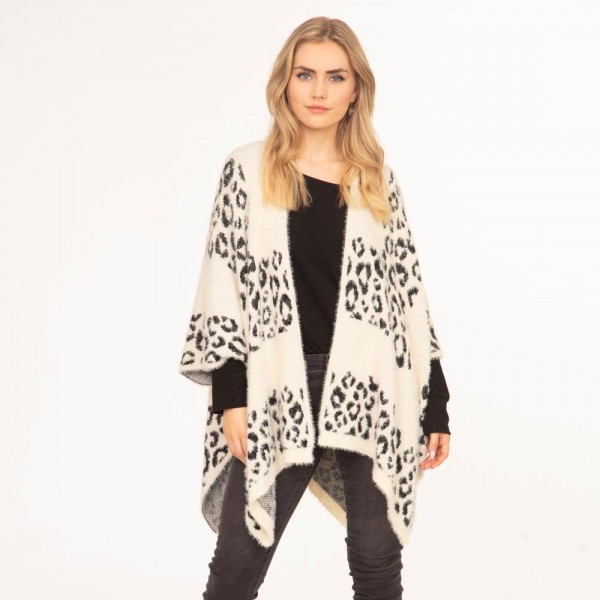 Women's Knit Kimono Featuring Leopard Print Details  - 50% Polyester, 50% Acrylic - One Size Fits Most (Sizes 0-14)
