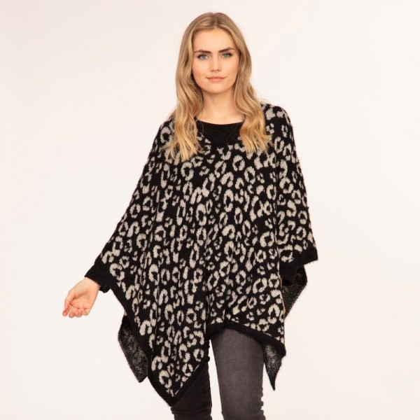 Women's Knit Poncho Featuring Leopard Print Details  - 50% Polyester, 50% Acrylic - One Size Fits Most (Sizes 0-14)