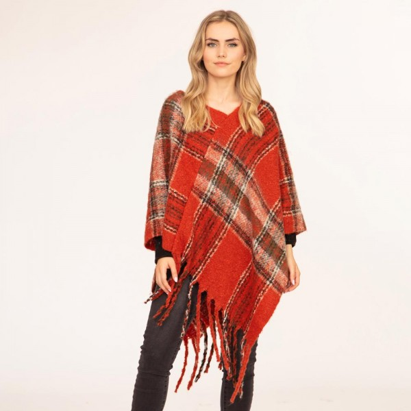 """Women's Plaid Knit Poncho Featuring Tassel Edges.  - One Size Fits Most (Sizes 0-14) - Approximately 39"""" in Length - 100% Polyester"""