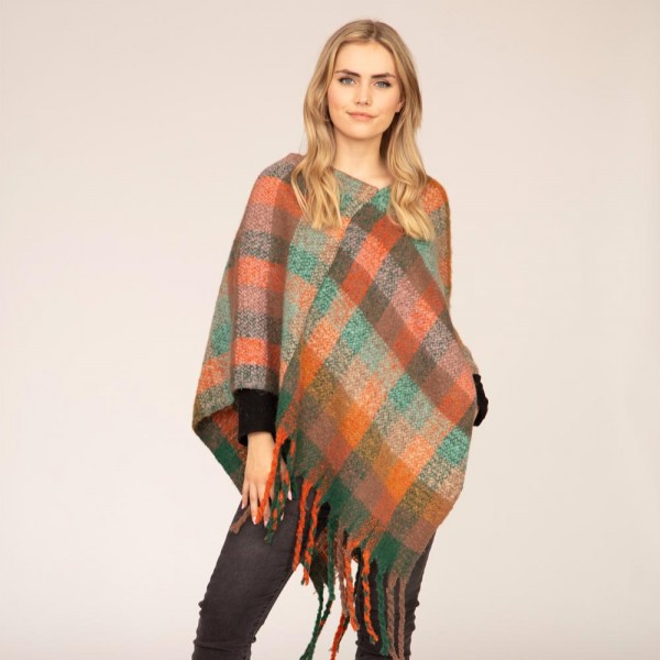 """Women's Multicolor Buffalo Check Knit Poncho Featuring Tassel Edges.  - One Size Fits Most (Sizes 0-14) - Approximately 40"""" in Length - 100% Polyester"""