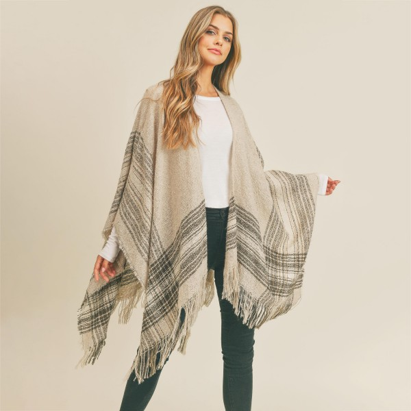 Knit Ruana with fringe tassels  -One size fits most 0-14 -100% Polyester