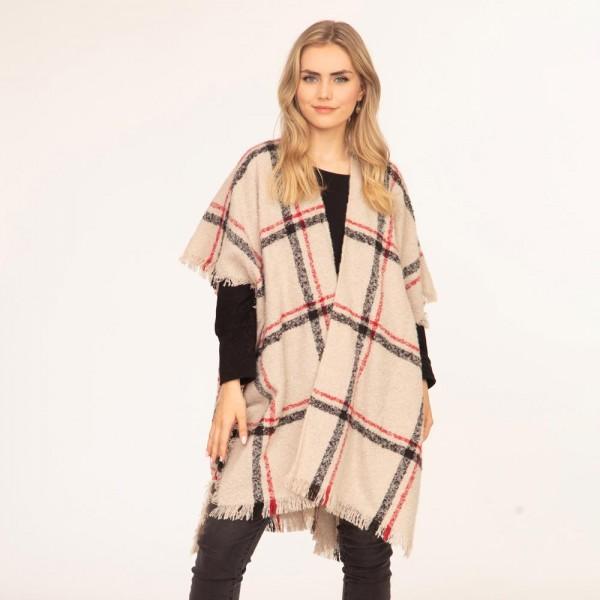 Plaid knit kimono  -One size fits most 0-14 -100% Polyester