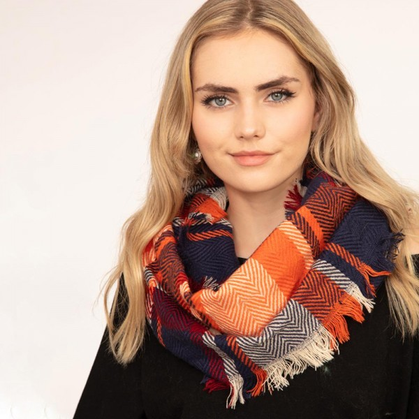 Plaid infinity scarf with frayed edges  -One size fits most -100% Acrylic