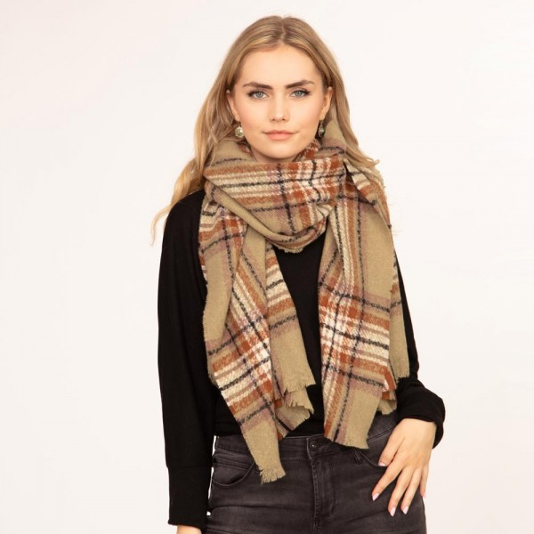 """Plaid Scarf Featuring Fringe Deatils  - Approximately 77"""" L x 26"""" W - 80% Polyester, 20% Acrylic"""