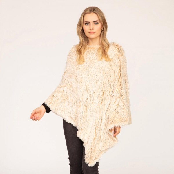 Faux Fur Poncho  - One Size Fits Most 0-14 - 100% Polyester