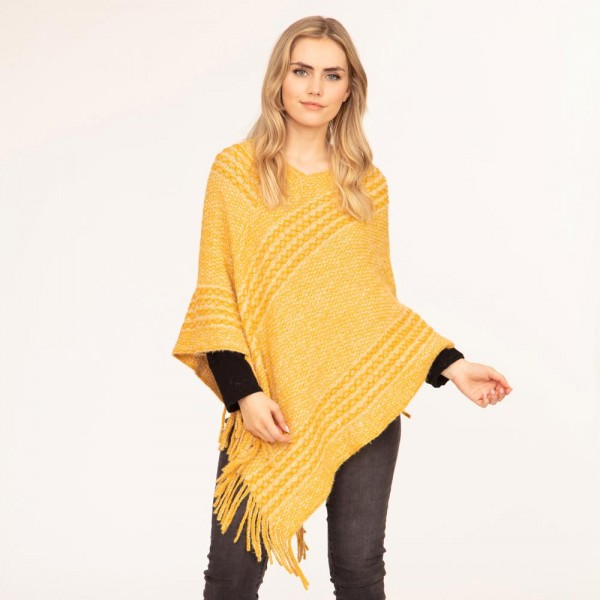 """Women's Marled Knit Poncho.  - One Size Fits Most - Approximately 38"""" in Length - 50% Polyester, 50% Acrylic"""