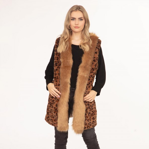 """Women's Faux Fur Leopard Print Vest.  - One Size Fits Most - Approximately 35"""" in Length - 100% Polyester"""