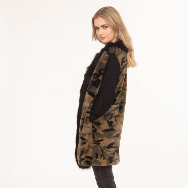 """Women's Faux Fur Camouflage Vest Featuring a Black Faux Fur Trim.  - One Size Fits Most - Approximately 35"""" in Length - 100% Polyester"""