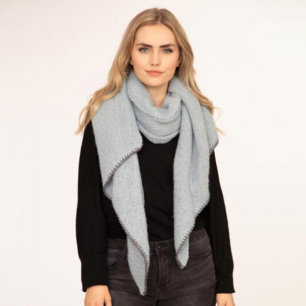 """Solid plush scarf with edge stitching  -100% Polyester -22""""W x 88""""L"""