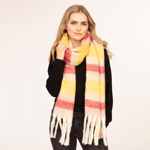"""Plush knit scarf with fringe tassels  -Approximately 80"""" L x 14.5""""W -100% Polyester"""