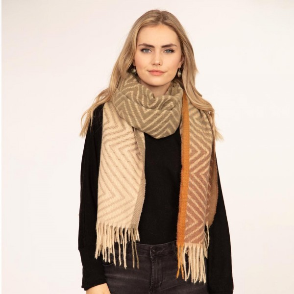 """Women's Oversized Chevron Scarf Featuring Tassel Details.  - Approximately 27"""" x 74"""" - 100% Polyester"""