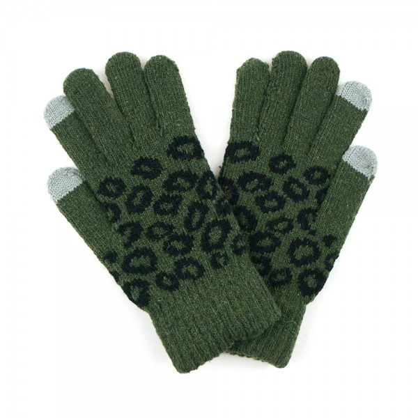 Knit animal print gloves  -Touchscreen compatible -One size fits most -100% Acrylic