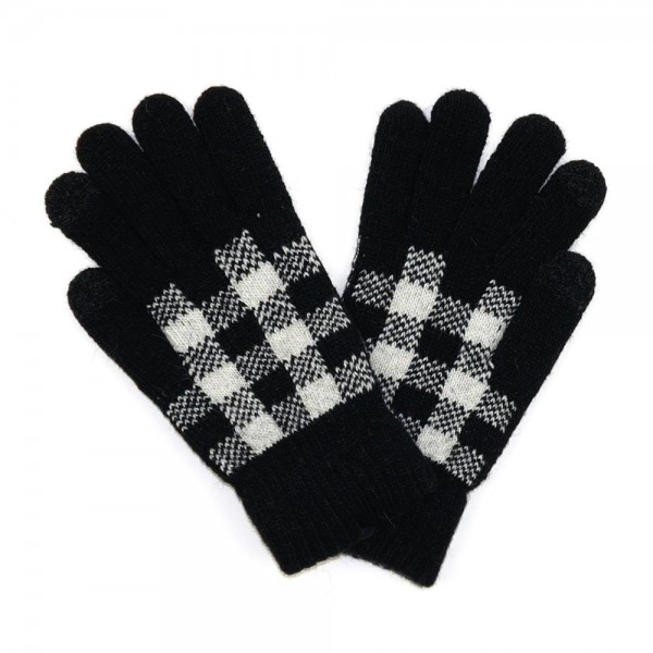 Knit plaid gloves  -Touch screen compatible -One size fits most -50% Acrylic/ 40% Wool/ 10% Spandex