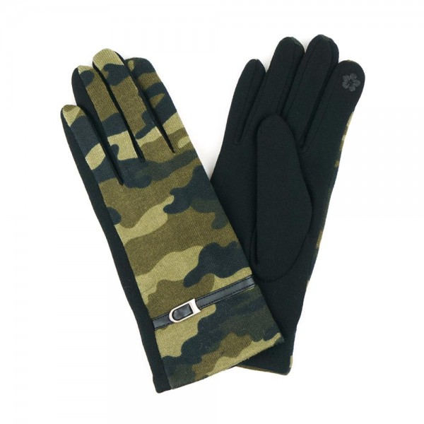 Camouflage Smart Touch Gloves Featuring Leather Accents.  - Touchscreen Compatible - One size fits most - 100% Polyester