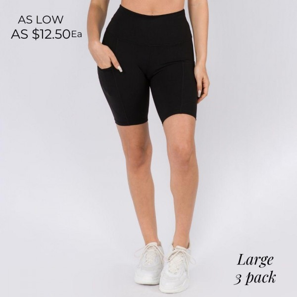 Buttery Soft Biker Short Featuring a Side Pocket. (3 Pack)  • Flattening elasticized waistband with interior pocket • Side pocket holds a phone, keys, cash • Ultra-soft, buttery fabrication • Squat proof design • Flattering seams enhance curves • 4-way stretch for a move-with-you feel • Triangle crotch gusset eliminates camel toe • Stretchy and comfortable • Flat lock seams prevents chafing • Fits like a glove • Perfect for all low-high impact workouts • Double inner leg seams for zero bagginess • Stretchy and comfortable   Material: 75% Nylon, 25% Spandex  Pack Breakdown: 3pcs/pack. Large