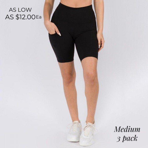 Buttery Soft Biker Short Featuring a Side Pocket. (3 Pack)  • Flattening elasticized waistband with interior pocket • Side pocket holds a phone, keys, cash • Ultra-soft, buttery fabrication • Squat proof design • Flattering seams enhance curves • 4-way stretch for a move-with-you feel • Triangle crotch gusset eliminates camel toe • Stretchy and comfortable • Flat lock seams prevents chafing • Fits like a glove • Perfect for all low-high impact workouts • Double inner leg seams for zero bagginess • Stretchy and comfortable   Material: 75% Nylon, 25% Spandex  Pack Breakdown: 3pcs/pack. Medium
