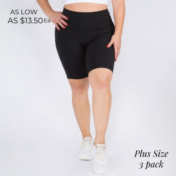 Buttery Soft Biker Short Featuring a Side Pocket. (3 Pack)  • Flattening elasticized waistband with interior pocket • Side pocket holds a phone, keys, cash • Ultra-soft, buttery fabrication • Squat proof design • Flattering seams enhance curves • 4-way stretch for a move-with-you feel • Triangle crotch gusset eliminates camel toe • Stretchy and comfortable • Flat lock seams prevents chafing • Fits like a glove • Perfect for all low-high impact workouts • Double inner leg seams for zero bagginess • Stretchy and comfortable   Material: 75% Nylon, 25% Spandex  Pack Breakdown: 3pcs/pack. XXXL