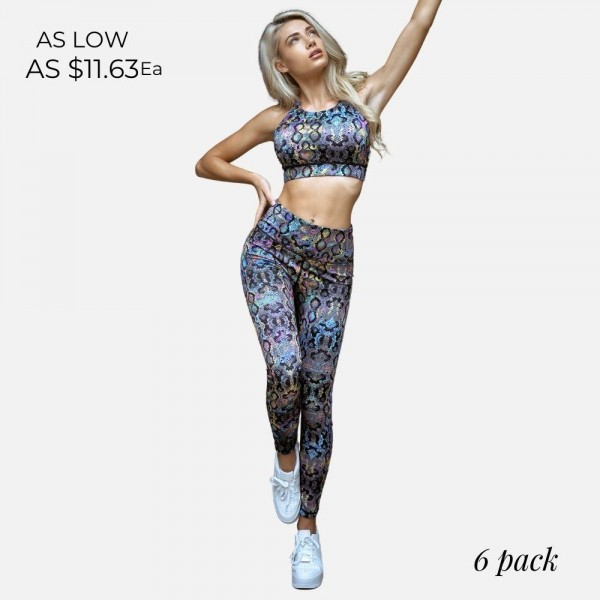 Multi-Color Snake Skin Leggings Featuring High-Waist and Moisture Wicking Fabric.   • Moisture wick fabric • Squat proof • Full length • Flat high rise waistband • Print throughout • Flat lock seams prevent chafing • Imported   Pack Breakdown: 6pcs/pack. 2S: 2M: 2L