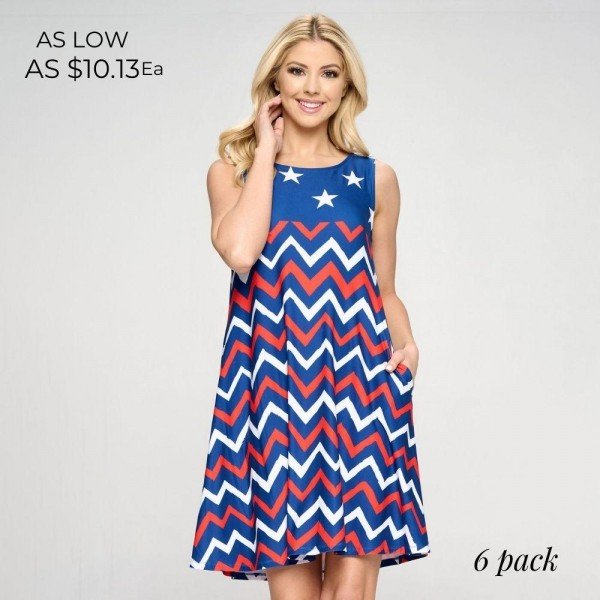 """Red, White, and Blue Chevron USA Dress! A-Line Tank Dress Features Two Pockets on Each Hip, a Flowy Silhouette, and Soft Material. (6 Pack)   • Sleeveless • Crew neck • Two pockets on each hip to keep your hands warm • Knee length • A-line silhouette • Soft and comfortable fabric with stretch • Pull on styling   Model Stats: 32 x 24 x 36 Height 5'8""""   Pack Breakdown: 6pcs/pack. 2S: 2M: 2L  Content: 95% Polyester, 5% Spandex"""