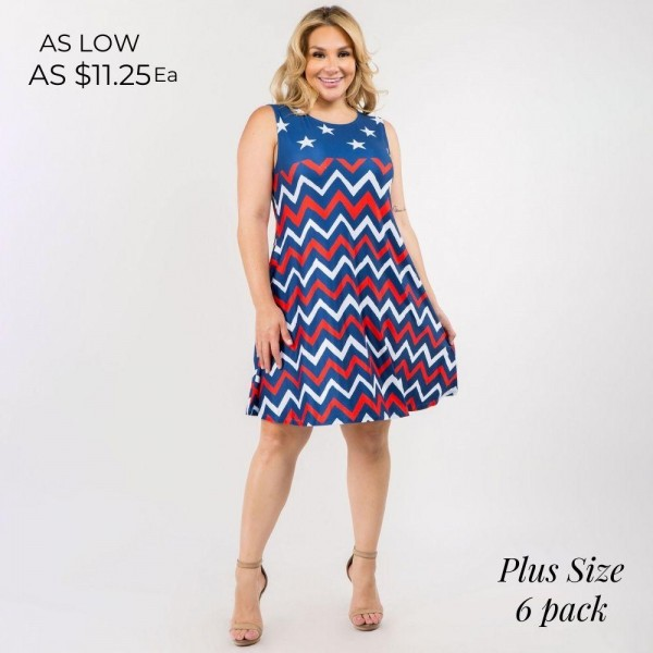 """Red, White, and Blue Chevron USA Dress! A-Line Tank Dress Features Two Pockets on Each Hip, a Flowy Silhouette, and Soft Material. (6 Pack)   • Sleeveless • Crew neck • Two pockets on each hip to keep your hands warm • Knee length • A-line silhouette • Soft and comfortable fabric with stretch • Pull on styling   Model Stats: 43 x 32 x 54 Height 5'8""""   Pack Breakdown: 6pcs/pack. 2XL: 2XXL: 2XXXL  Content: 95% Polyester, 5% Spandex"""