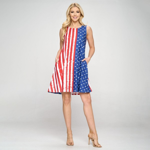 """Patriotic A-Line Tank Dress features Two Pockets on Each Hip, a Flowy Silhouette, and American Flag Design. (6 Pack)   • Sleeveless • Crew Neck • Two pockets to store necessities • Knee length • A-line silhouette • Soft and comfortable fabric with stretch   Model Stats: 32 x 24 x 36 Height 5'8""""   Pack Breakdown: 6pcs/pack. 2S: 2M: 2L"""