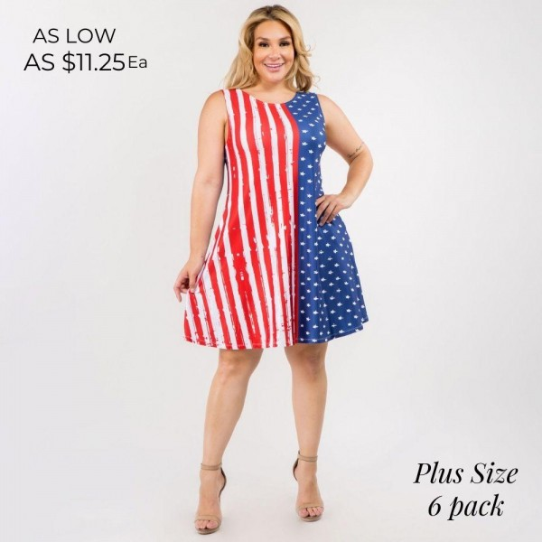 """Plus Size Patriotic A-Line Tank Dress features Two Pockets on Each Hip, a Flowy Silhouette, and American Flag Design. (6 Pack)   • Sleeveless • Crew Neck • Two pockets to store necessities • Knee length • A-line silhouette • Soft and comfortable fabric with stretch   Model Stats: 43 x 32 x 54 Height 5'8""""   Pack Breakdown: 6pcs/pack. 2XL: 2XXL: 2XXXL"""