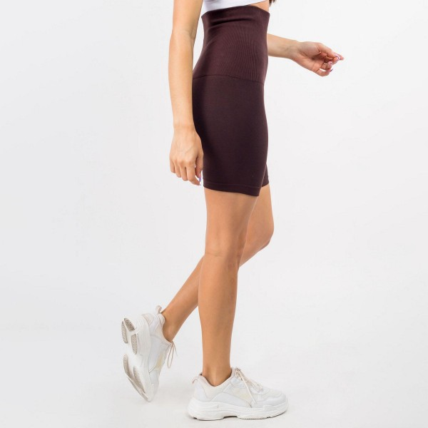 """French Terry Biker Shorts Featuring a High-Rise, Tummy Control Waistband. (6 Pack)   • High Waisted • Compression control top waistline • Ribbed elasticized waistband • Tummy Control • Biker Shorts • Ultra-soft French terry lining • Solid color • Very stretchy • Comfortable • One size fits most   Model Stats: 33 x 27 x 36 Height 5'7""""   Material: 55% viscose, 40% polyester, 5% spandex  Pack Breakdown: 6pcs/pack. One size"""
