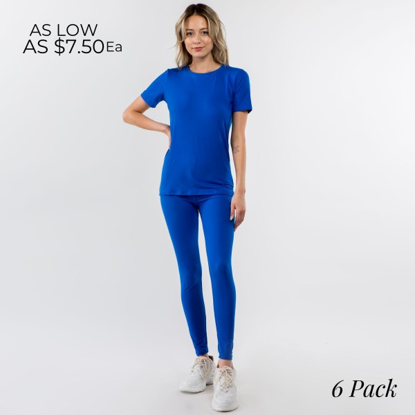 """Peach Skin Loungewear Set Featuring Leggings and Matching Tee. (6 Pack)  - Each Set Comes with 1"""" Waistband Peachskin Leggings and Matching Peachskin Tee.  - 6 Sets Per Pack - Sizes: 2-S, 2-M, 2-L"""
