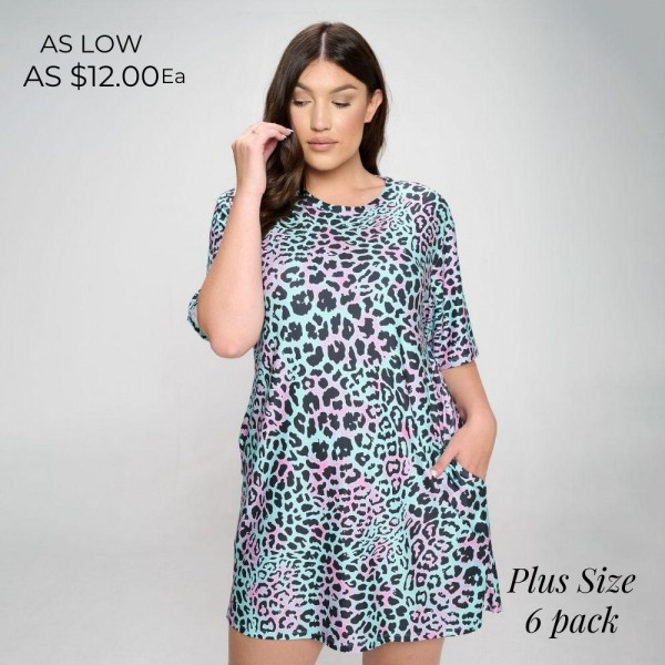 Plus Size Leopard Print Dress Featuring Two Pockets On Each Hip. (6 Pack)  • Round neckline • Short sleeves • Two open pockets on each hip • A-line silhouette • Soft and comfortable fabrication • Pull on/off design  - 6 Dresses Per Pack   Pack Breakdown: 6pcs/pack. 2XL: 2XXL: 2XXXL  Content: 95% Polyester, 5% Spandex