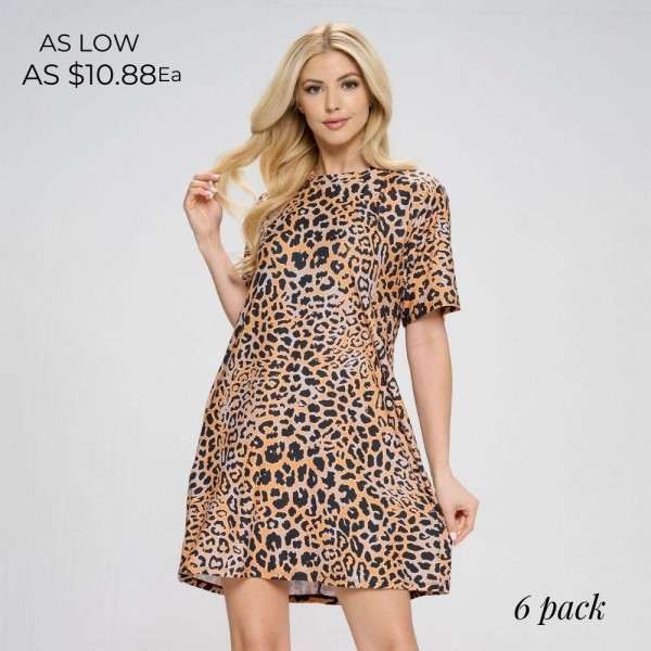 """Animal Print A-Line Dress Featuring Short Sleeves, a Round Neckline, and Two Pockets. (6 Pack)   • Round Neckline • Short Sleeves • Floral Print • Two Pockets • Flowy Silhouette • Above the Knee Hem Length • Soft, Comfortable Fabric with Stretch • Pullover Styling   Model Stats: 32 x 24 x 36 Height 5'8""""   Pack Breakdown: 6pcs/pack. 2S: 2M: 2L  Material: 95% Polyester, 5% Spandex"""