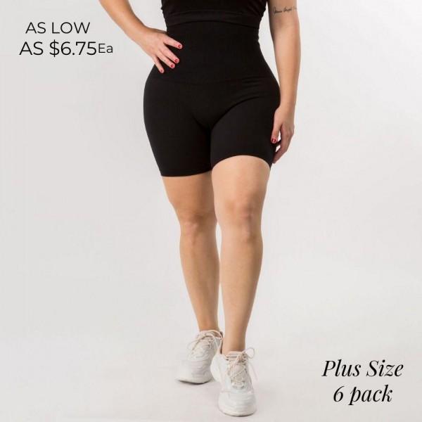 Wholesale plus Bike Shorts Rise Tummy Control Waistband Ultra Soft French Terry