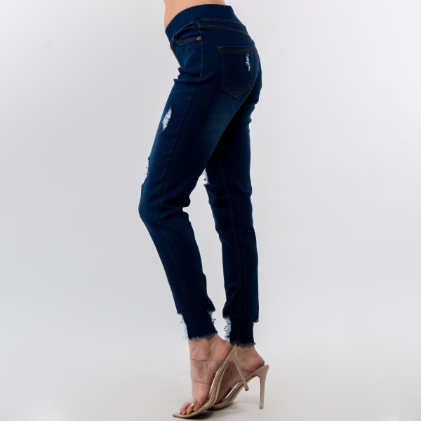 """Women's Classic Dark Denim Distressed Jeggings. (6 Pack)  - 1.5"""" Elastic Waistband - 4 Functional Pockets - Pull-On Style - Distressed Detail - Soft & Stretchy Material  - Pack Breakdown: 6 Pair Per Pack - Sizes: 2-S / 2-M / 2-L - Inseam Approximately 28"""" in Length - 76% Cotton, 22% Polyester, 2% Spandex"""