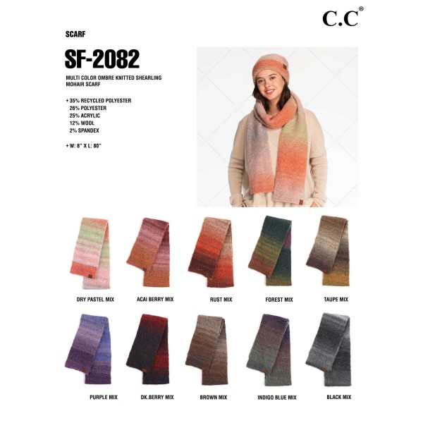 """C.C SF-2082 Recycled Yarn Scarf  - 35% Recycled Polyester / 26% Polyester / 25% Acrylic / 12% Wool / 2% Spandex - Approximately 76"""" L x 7"""" W"""