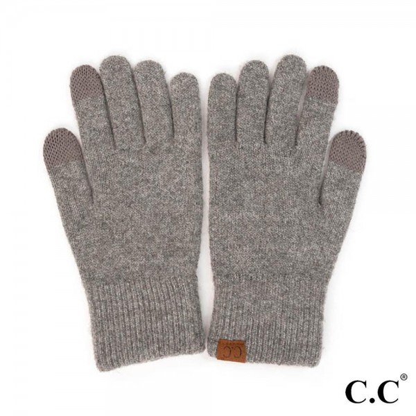 C.C G-2075 Recycled Yarn Smart Touch Gloves  - One Size Fits Most - Touchscreen Compatible - 61% Recycled Polyester, 24% Polyester, 6% Cashmere, 5% Wool, 4% Spandex