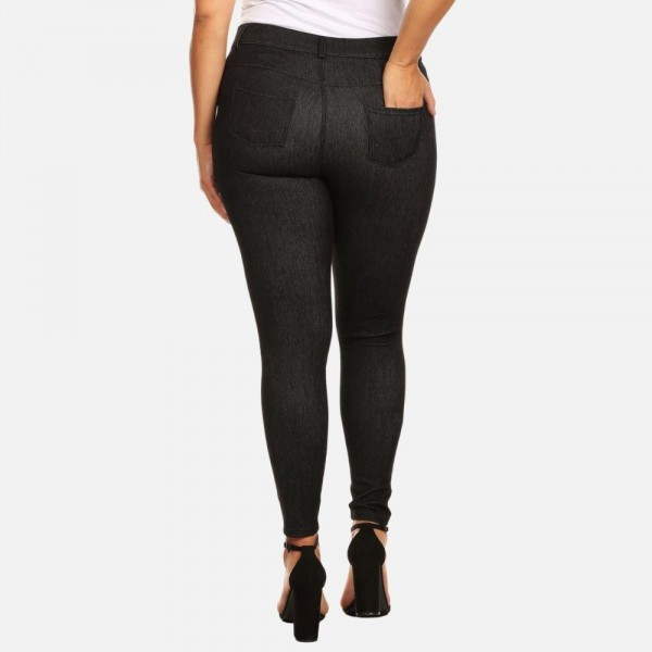 Women's Plus Size Mid-Rise Jeggings. (6 Pack)   • Faux front button closure • Mid rise • 5 Pockets • Faded color accents • Skinny leg • Super soft, stretchy • Pull up styling  - 6 Pairs of Jeggings Per Pack  Pack Breakdown: 6pcs/pack. XL/XXL only  Composition: 60% Cotton, 33% Polyester, 7% Spandex