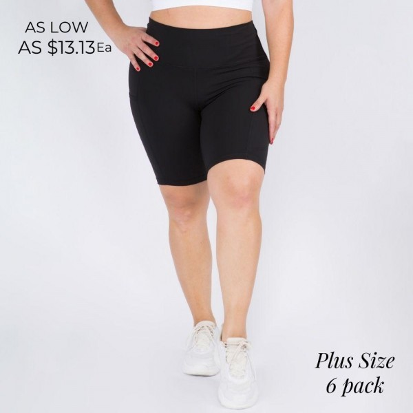 Plus Size Buttery Soft Biker Shorts Featuring 4-way Stretch and Side Pocket. (6 Pack)   • Flattening elasticized waistband with interior pocket • Side pocket holds a phone, keys, cash • Ultra-soft, buttery fabrication • Squat proof design • Flattering seams enhance curves • 4-way stretch for a move-with-you feel • Triangle crotch gusset eliminates camel toe • Stretchy and comfortable • Flat lock seams prevents chafing • Fits like a glove • Perfect for all low-high impact workouts • Double inner leg seams for zero bagginess • Stretchy and comfortable  - 6 Shorts Per Pack  Composition: 75% Nylon, 25% Spandex  Pack Breakdown: 6pcs/pack. 2XL: 2XXL: 2XXXL