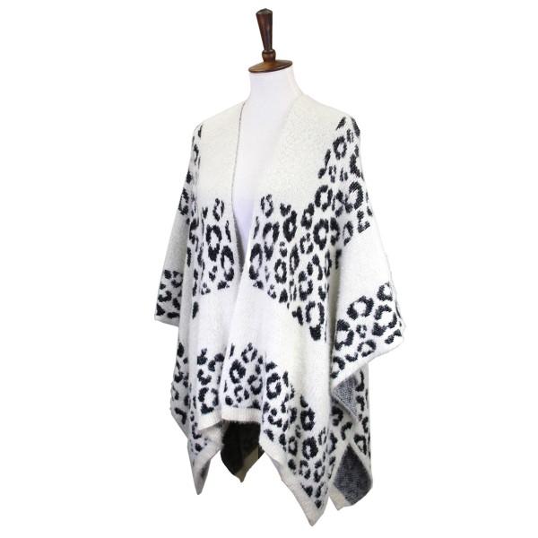 Fuzzy Animal Print Ruana Wrap   - One Size Fits Most 0-14 - 50% Acrylic / 50% Nylon