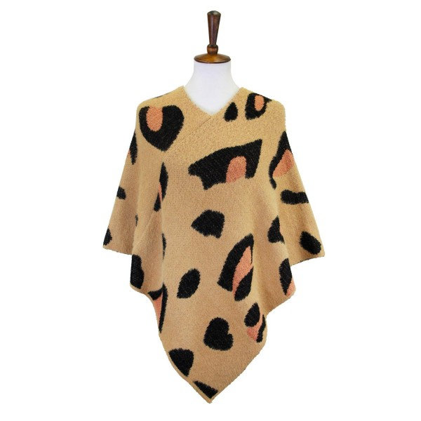 Women's Knit Poncho Featuring Leopard Print Details   - One Size Fits Most 0-14 - 50% Acrylic/50% Nylon
