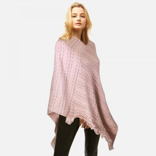 Poncho featuring frayed edges  -One size fits most 0-14 -100% Polyester