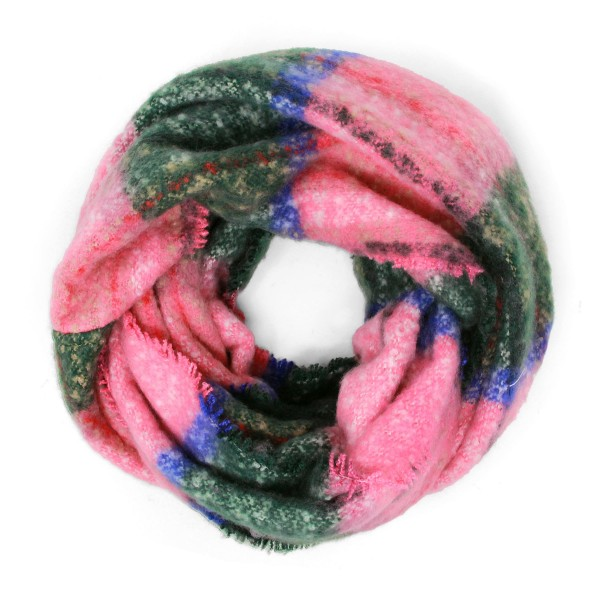 Soft Knit Plaid Infinity Scarf with Fringe Detail  - One Size Fits Most - 100% Acrlic