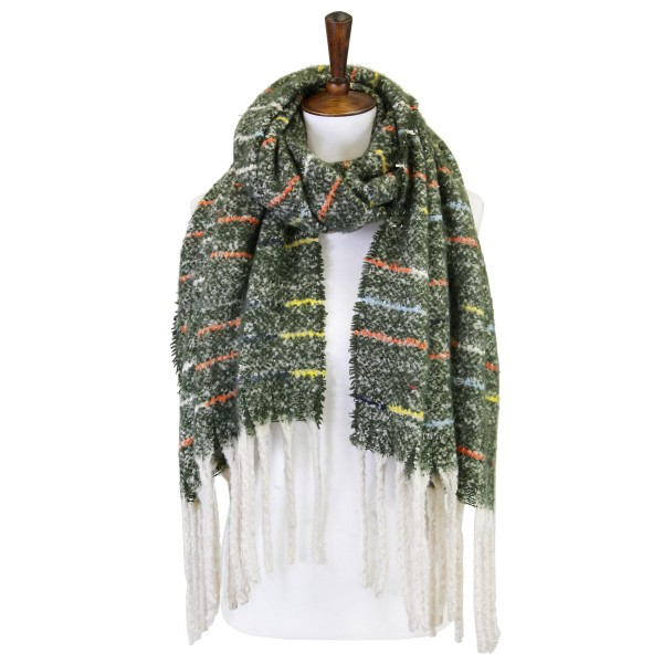 """Soft Knit Scarf with Multi-Color Striping Detail and Fringe Tassels  - 100% Acrylic - Approximately 88"""" L x 20"""" W"""