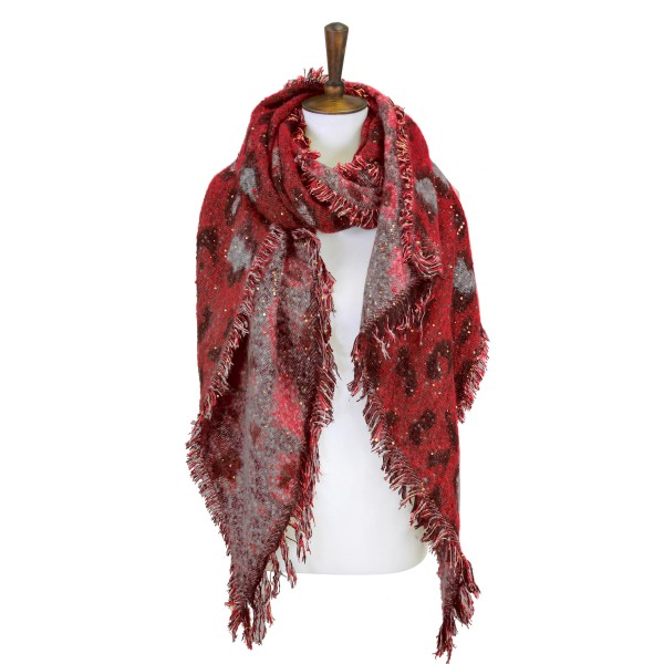 """Animal Print Scarf Featuring Sequins and Fringe Hem  - Approximately 84"""" Long x 28"""" Wide - 100% Polyester"""