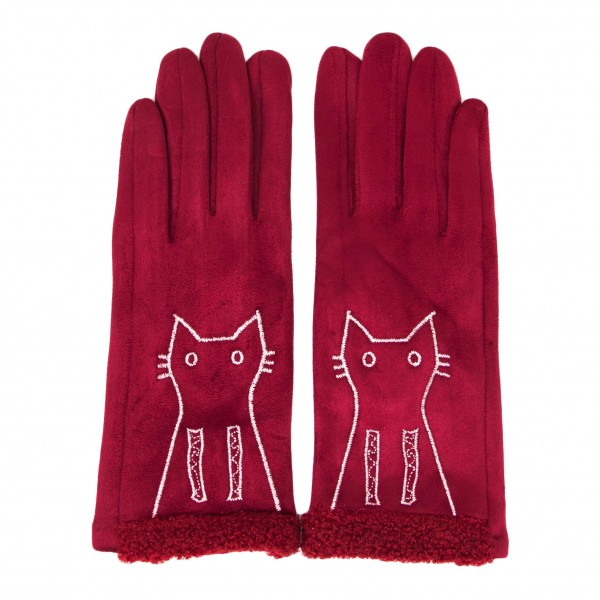 Faux Suede Smart Touch Cat Gloves Featuring a Faux Fur Cuff.  - Touchscreen Compatible - One Size Fits Most - 100% Polyester