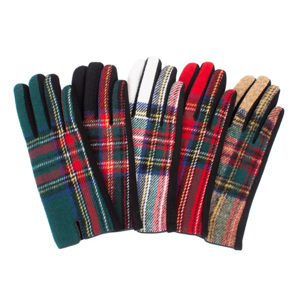 Plaid Smart Touch Gloves   - Touchscreen Compatible - One size fits most - 100% Polyester