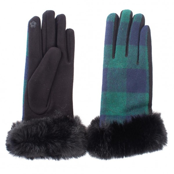 Plaid Gloves Featuring Faux Fur Trim.  - Touch Screen Compatible - One Size Fits Most - 100% Polyester