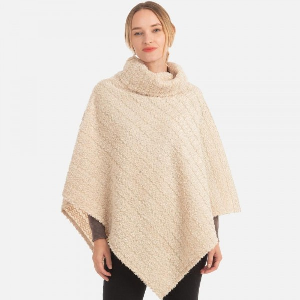 Soft sherpa poncho with cowl neck  -One size fits most 0-14 -100% Acrylic