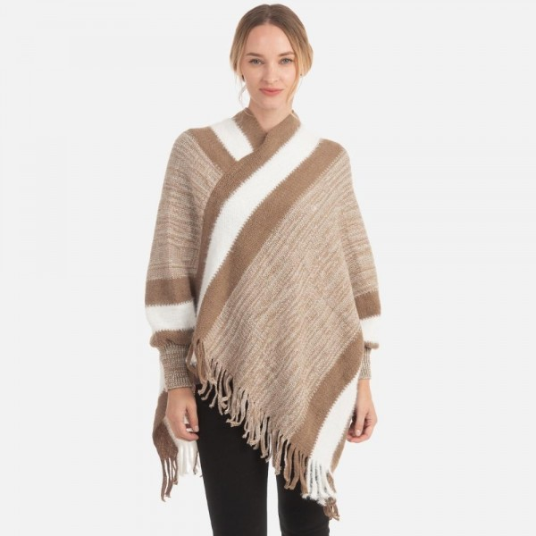 Knit Sleeved Poncho with Fringe Tassels  -One size fits most 0-14 -100% Acrylic