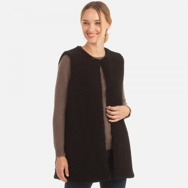 Plush Sherpa Vest with Pockets  -One size fits most 0-14 -100% Polyester