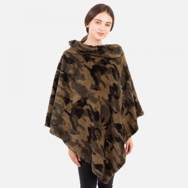 Camo Print Poncho   -One size fits most 0-14 -100% Polyester