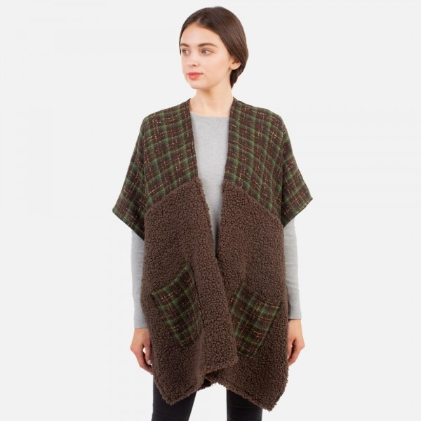 Women's Plaid Kimono Featuring Sherpa Details.  - One Size Fits Most (Sizes 0-14) - 100% Polyester